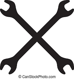 Silhouette icon of crossed wrenches. Workshop, mechanic, repair service logo template. Clean and modern vector illustration.