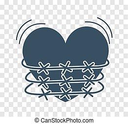 silhouette icon of heartache