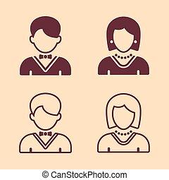 silhouette, icone, quattro, vettore, femmina, maschio