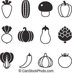 silhouette, icone, set, vettore, disegno, verdura
