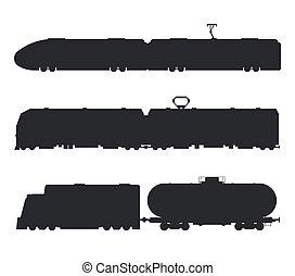 silhouette, icone, vendemmia, moderno, vettore, nero, treni, bianco