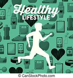 silhouette, iconen, gezonde , rennende , achtergrond, levensstijl, witte , sportende, man