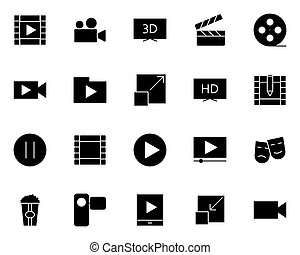 silhouette, iconen, set., vector, video, pictograms