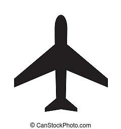 silhouette., icono, raster, image., avión