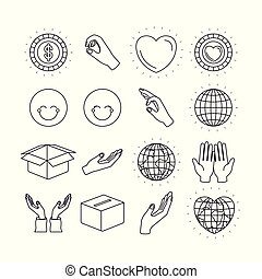 silhouette icons set earth world and charity symbols