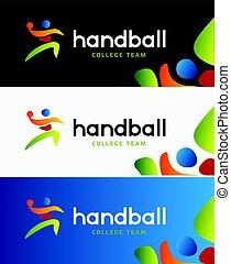 silhouette, identity., coloré, banner., résumé, tournoi, championship., joueur, vecteur, collège, handball