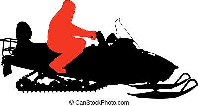 silhouette, illustratie, achtergrond., vector, snowmobile, witte