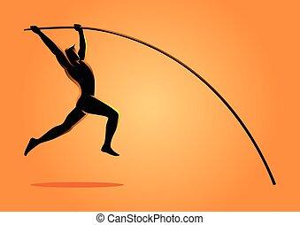 silhouette, illustratie, van, een, polstokspringen, atleet