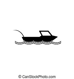 silhouette, illustratie, vector, visserij, icon., scheepje