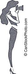 silhouette, illustration., achtergrond., vector, black , retro, camera., meisje, girl-photographer, witte , liggen