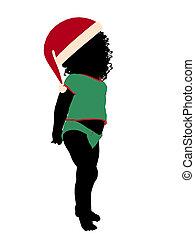 silhouette, illustration, américain, africain femelle, ...