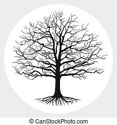 silhouette, illustration., arbre, vecteur, nu, noir
