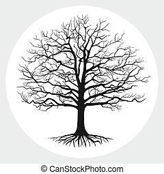 silhouette, illustration., arbre, vecteur, nu, noir