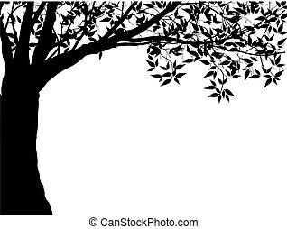 silhouette, illustration., boompje, vrijstaand, achtergrond., vector, eps10, witte