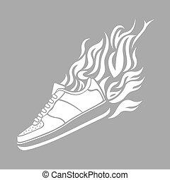 silhouette, illustration, chaussure de course, fond, icône