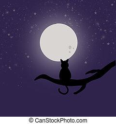 silhouette, illustration., circondato, esso, gatto, chiaro di luna, stelle, ramo, disegnato, mano