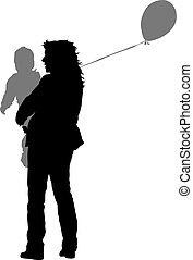 silhouette, illustration., famille, arrière-plan., vecteur, blanc, heureux