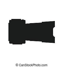 silhouette, illustration., foto, vettore, vista., macchina fotografica, lato, icona