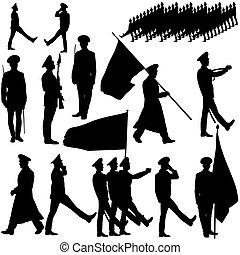 silhouette, illustration., gens, collection., vecteur, militaire