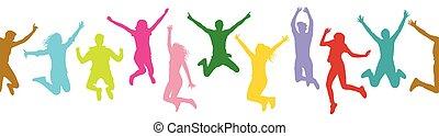 silhouette, illustration., gens, modèle, seamless, sauter, colorful., vecteur, (crowd)