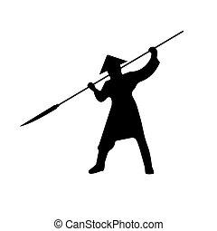 silhouette, illustration., guerriers, samouraï, vecteur, pike.