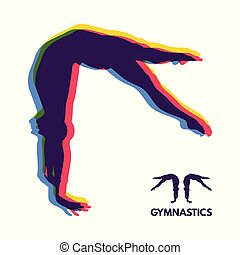 silhouette, illustration., gymnast., symbole., vecteur, dancer., sport