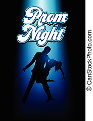 Silhouette illustration of a couple dancing under the blue light with prom night text