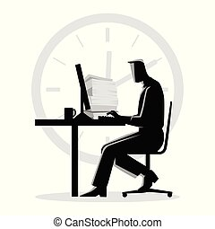 Silhouette illustration of a man working overtime