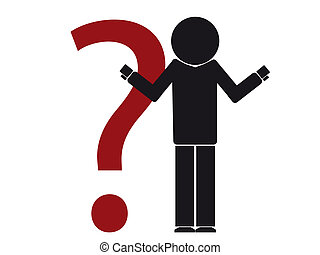 silhouette illustration of a person having doubt