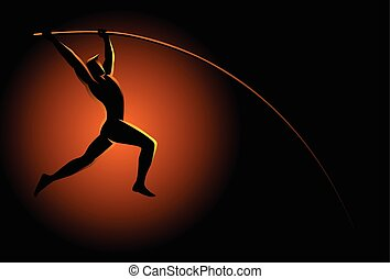 Silhouette illustration of a pole vault athlete