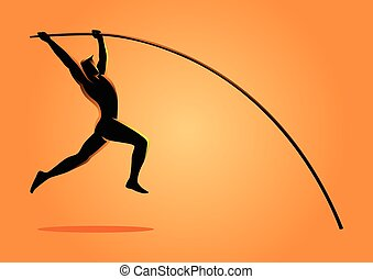 Silhouette illustration of a pole vault athlete