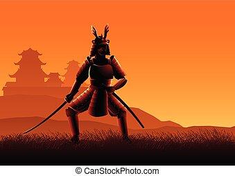 Silhouette illustration of a Samurai
