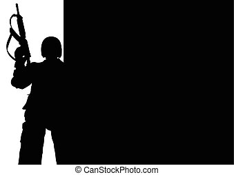Silhouette illustration of a soldier