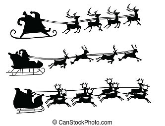 Flying Santa and Christmas Reindeer - Silhouette ...