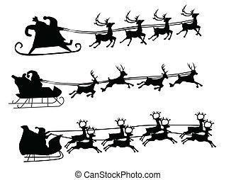 Flying Santa and Christmas Reindeer - Silhouette...