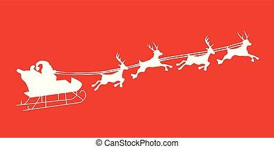 Silhouette Illustration of Flying Santa and Christmas Reindeer