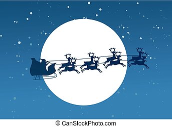 Silhouette Illustration of Flying Santa and Christmas Reindeer