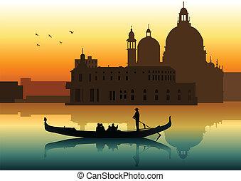 Silhouette illustration of people on gondola in Venice