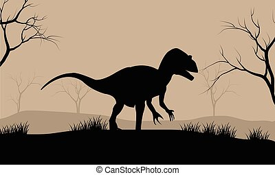 Silhouette illustration of Tyrannosaurus in the forest