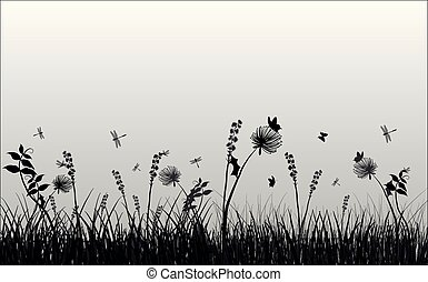 silhouette, illustration, papillons, fond, blanc, herbe