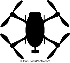 silhouette, illustration., pictogram, bovenzijde, copter, element, vector, black , logo, quad, neuriën, aanzicht