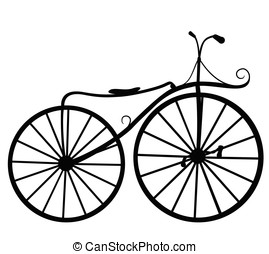 Silhouette illustration retro bicycle isolated on white background. Vector illustration