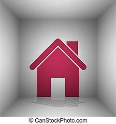 silhouette, illustration., room., bordo, maison, ombre, icône