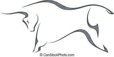 silhouette, illustration., saltare, fondo., vettore, nero, toro, bianco, casato