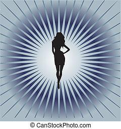 silhouette., illustration, vecteur