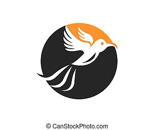 silhouette, illustration, vecteur, conception, logo, oiseau