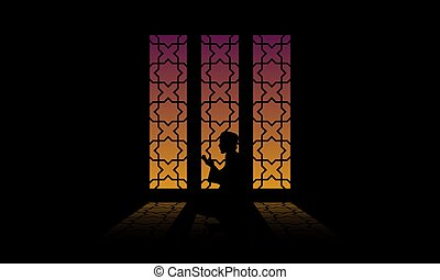 silhouette, illustration, vecteur, musulman, praying.