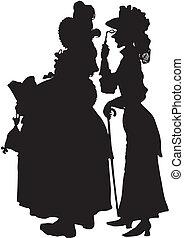 silhouette, illustration, womans