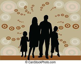 silhouette, illustrazione, -, famiglia, vettore