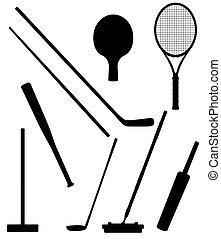 silhouette, illustrazione, sport, vettore, nero, bastone, ...